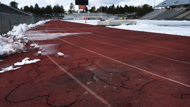 The track at Mackay Stadium is seen on the University of Nevada campus Tuesday. Cracks have developed in the track, which is expected to be resurfaced this summer.