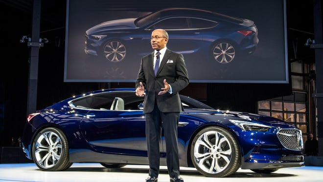 General Motors Vice President Global Design Ed Welburn and the Buick Avista concept Sunday, January 10, 2016 in Detroit.