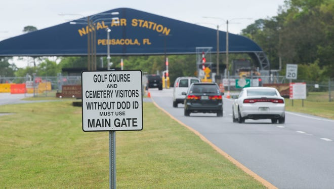 Most visitors to Pensacola Naval Air Station are required to use back gate of the military installation.