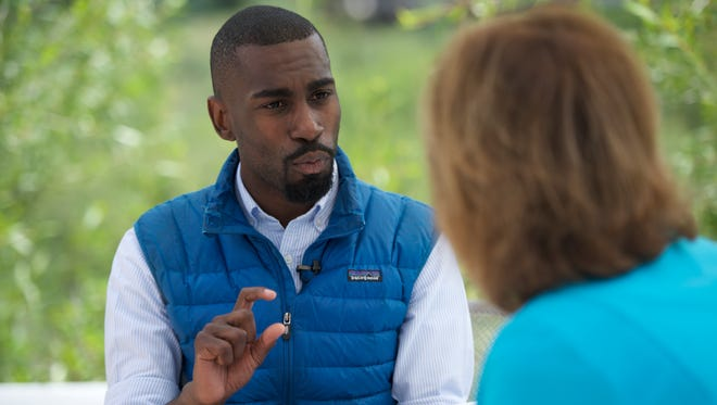 USA TODAY Washington Bureau Chief Susan Page site down for an interview with DeRay Mckesson, a leader of Black Lives Matter, in Aspen, Colo., June 29, 2016.
