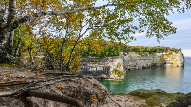 Grand Portal point seen from along the lakeshore trail in the Pictured Rocks National Lakeshore.