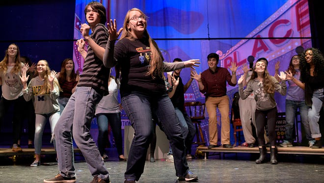 "Brendan Allen (left) and Leila Mullison rehearse ""100 Years of Broadway."""