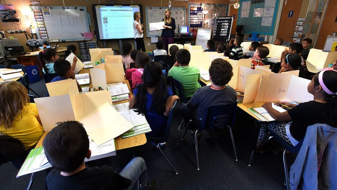 A crowded classroom is seen at Libby Booth Elementary School in Reno on Sept. 6, 2016.