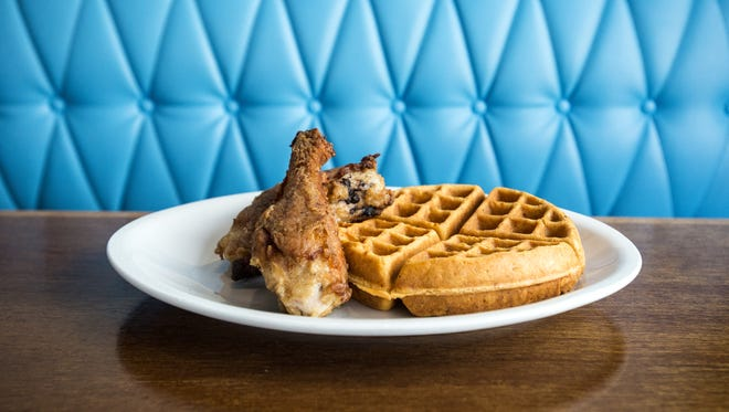 The dark meat heirloom fried chicken with the cracklin waffle at King Daddy's Chicken and Waffle in West Asheville.