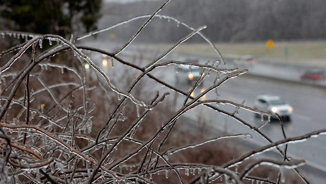 ; Ice builds up on every exposed surface around Joppa, Md.,  as freezing rain hits Maryland, D.C. and Virginia.
