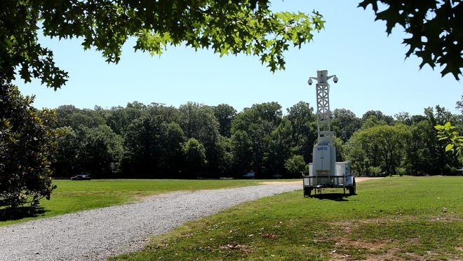 A police sky-cam stands watch in the Greensward in Overton Park on June 30, 2016.