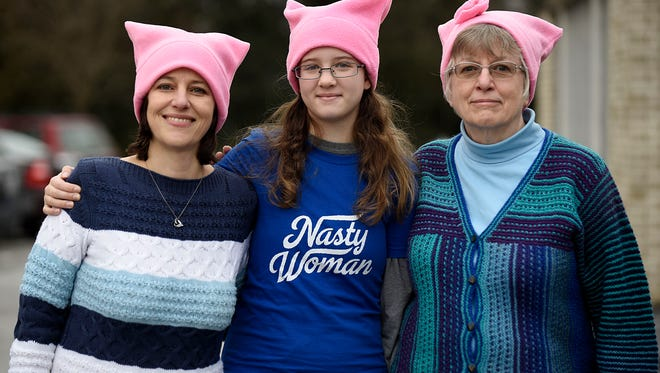Elizabeth Campion (from left), her daughter Eleanor, 12 and mother Pat Girbach will join Saturday's march on Washington.