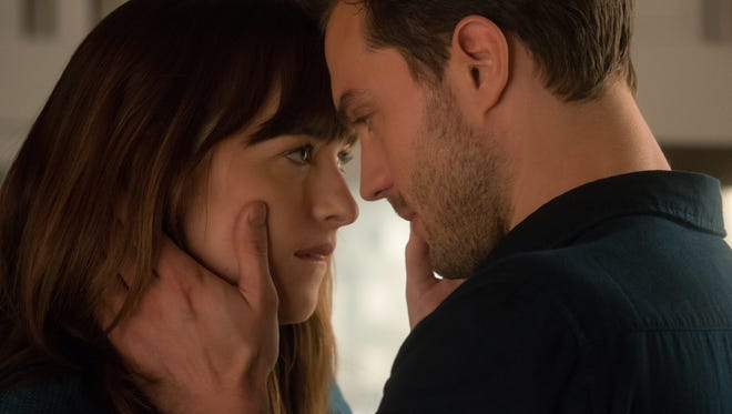 "Dakota Johnson and Jamie Dornan return as Anastasia Steele and Christian Grey in ""Fifty Shades Darker."""