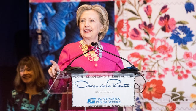 HIllary Clinton at the Oscar de la Renta Forever Stamp dedication ceremony at Grand Central Terminal on Feb.16, 2017 in New York City.