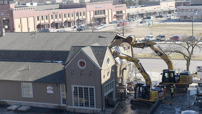 Demolition begins Tuesday morning on the former Peabody Restaurant near Woodward Avenue and Maple Road.