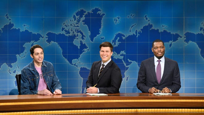 Pete Davidson, from left, Colin Jost and Michael Che during 'Weekend Update' on 'Saturday Night Live.'