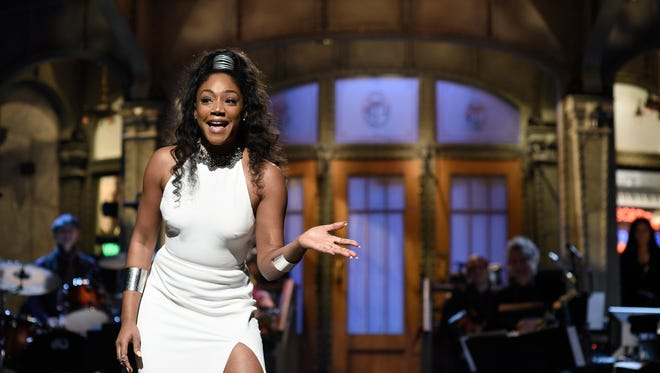 """Tiffany Haddish gets animated during her opening monologue on """"Saturday Night Live."""""""
