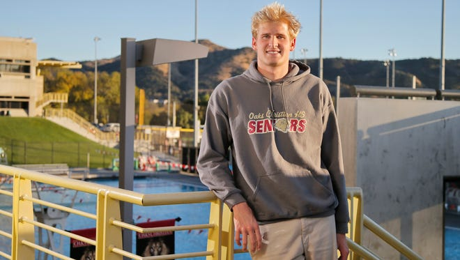 Jake Ehrhardt, overlooking the pool at Oaks Christian, helped build the Lions into a Division 1 boys water polo contender during his three years at the school.
