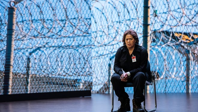 """Playwright Anna Deavere Smith performing as an inmate in a Maryland prison, one of many characters in her new work """"Notes from the Field."""""""