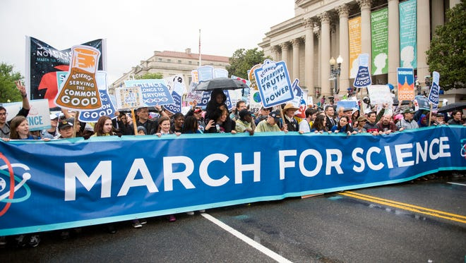 Marchers in the first ever March for Science in the nation's capital on Aprl 22, 2017.
