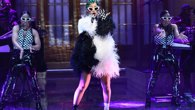 """SATURDAY NIGHT LIVE -- Episode 1742 """"Chadwick Boseman"""" -- Pictured: Musical Guest Cardi B Performs a Medley in Studio 8H on Saturday, April 7, 2018 -- (Photo by: Will Heath/NBC) ORG XMIT: Season:43 [Via MerlinFTP Drop]"""