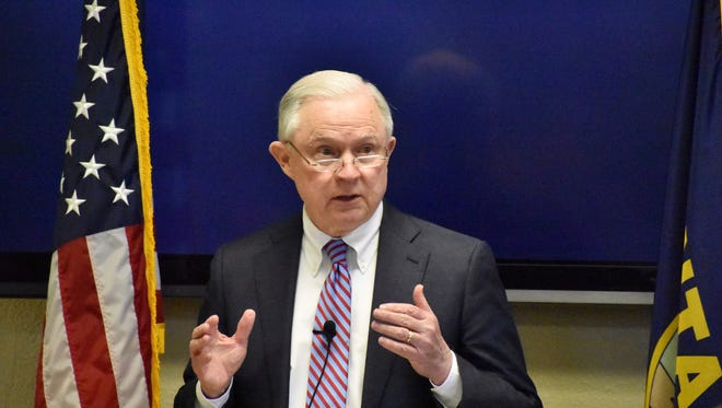 U.S. Attorney General Jeff Sessions addresses members of law enforcement and drug treatment specialists on Friday, April 27, 2018, at the Rimrock Foundation in Billings, Mont. The appearance comes as Montana has been grappling with rising violent crime linked to methamphetamine abuse. (AP Photo/Matthew Brown)