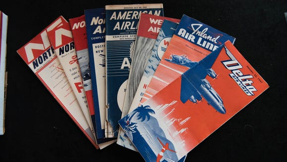 Another popular collector's item for enthusiasts: airline timetables. Thousands were on display at a show this year in Virginia, including versions from long-gone airline brands. Some dated as far back as the 1930s.