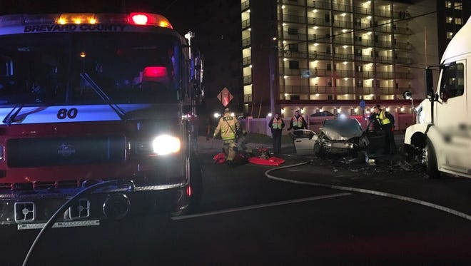 Two people were injured in a crash in Cocoa Beach Sunday evening.