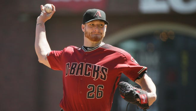 Arizona Diamondbacks starting pitcher Shelby Miller throws in the first inning of a baseball game against the San Francisco Giants Wednesday, Aug. 31, 2016, in San Francisco.