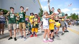 Green Bay Packers fans had plenty of fun during the second day of training camp at Ray Nitschke Field. (July 28, 2017)