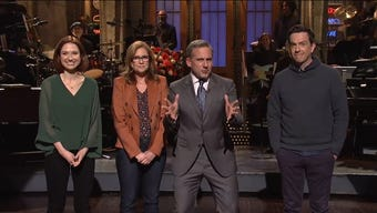 """It was a mini-reunion for fans of """"The Office"""" on this episode of """"Saturday Night Live."""" Host Steve Carell, who played Michael Scott on the popular show, was pressured by former cast members for a reboot."""