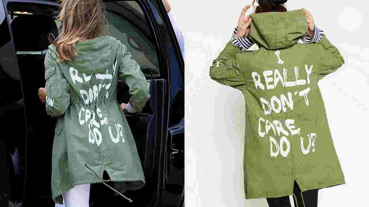 b4f8471e9e Melania Trump jacket says 'I DON'T REALLY CARE, DO U?'
