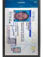 This is one example of what a digital driver's license could look like. The license is still under development by the Iowa Department of Transportation and a private vendor.