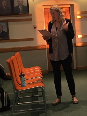 Katharine McGreevy, health science specialist, program manager for Environmental and Occupational Health Surveillance, speaks about childhood cancer rates at a recent meeting in Toms River.