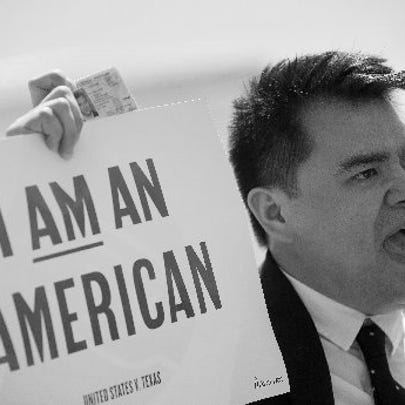 AP FILE PHOTO Jose Antonio Vargas, a journalist, filmmaker and immigration rights activist from San Francisco, speaks to supporters of immigration reform outside the U.S. Supreme Court.