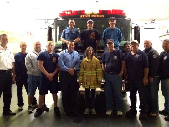 Jenna Toy of Franklin was sworn in as an honorary firefighter with Star Cross Volunteer Fire Company last week.
