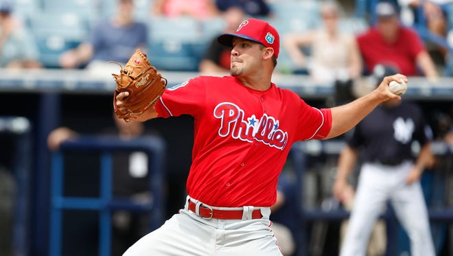 Phillies starting pitcher Adam Morgan pitches against the New York Yankees during the second inning at George M. Steinbrenner Field.