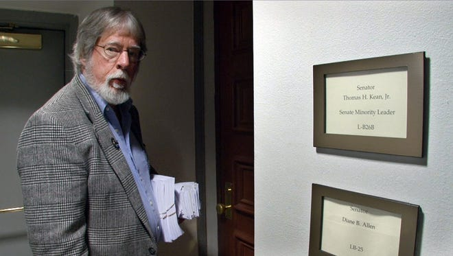 Asbury Park Press Editorial Page Editor Randy Bergmann found no one available in Senator Thomas Kean's office at the Statehouse in Trenton Thursday, October 29, 2015, when he tried to drop off letters and petitions to encourage political leaders to cut property taxes.