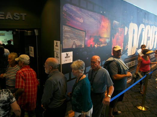 DOCUTAH filmgoers make their way through the line and