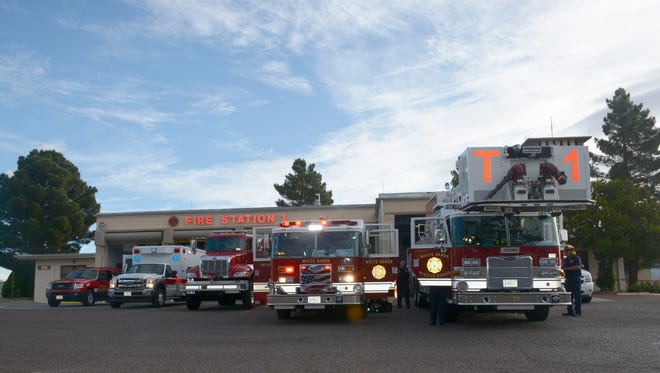 Emergency response vehicles are lined up in front of the main White Sands Missile Range Fire Department during their daily routine morning inspections on Sept. 22.