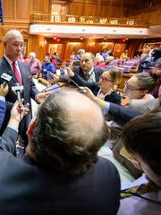 Indiana House Speaker Brian Bosma speaks to the media Tuesday after he announced that he will be leaving his position after the 2020 legislative session.