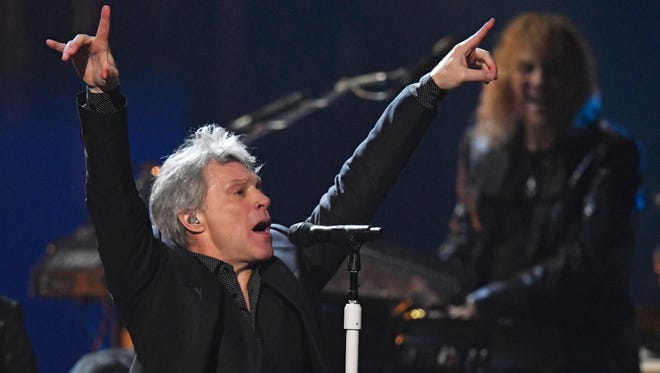 Jon Bon Jovi performs during the Rock and Roll Hall of Fame induction ceremony.