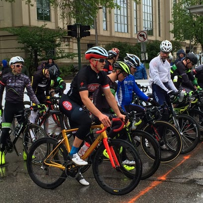 Cyclists line up for the start of the Men's Pro Old