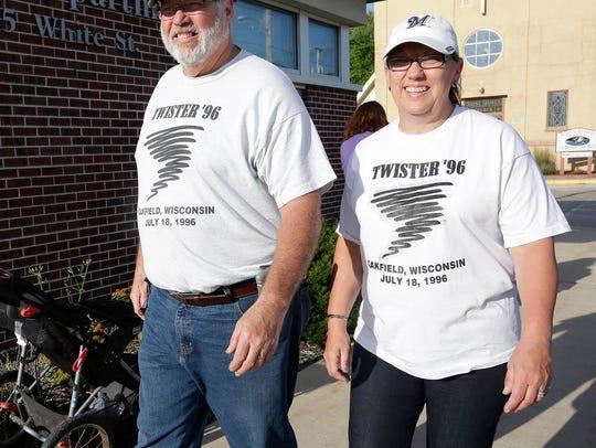 Tony and Sandie O'Malley of Oakfield sport their tornado