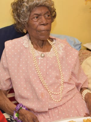 Emma William at her 100th birthday party on Thursday.