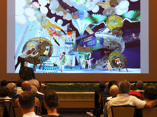 A representative for Gyroscope Inc., a design studio based in Oakland, Calif., shows renderings of how an interior space in the new El Paso children's museum could look during a meeting last year to unveil the new museum's master plan at the El Paso Community Foundation in Downtown. Gyroscope is the primary consultant on the project. Three architectural firms competed to design the structure. The master plan was developed after 24 public meetings and meetings with 400 people, said Eric Pearson, president and CEO of the El Paso Community Foundation.