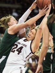 Arizona State forward Kelsey Moos (24) grabs a rebound
