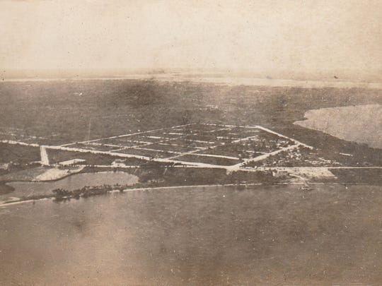 Aerial view of Port Sewall at an elevation of 1,000 feet in 1914 by aviator Hugh L. Willoughby.
