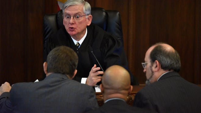 Judge Larry Roberts speaks to attorneys during the third day of Hinds County District Attorney Robert Shuler Smith's trial. Jurors heard closing arguments in the case Wednesday morning.