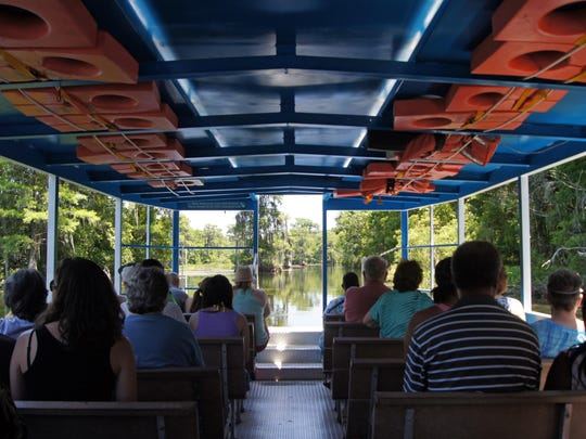 Just 30 minutes south of Tallahassee, visit one of Florida's most prized springs and rivers at the Wakulla Springs State Park. There, board the Jungle Cruise, a three-mile loop through the wildlife sanctuary as huge alligators sun on the riverbank, unique birds fly overhead or perch in Cypress trees, as river cooters (turtles) and even manatees swim by.