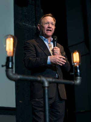 Quint Studer introduces a CivicCon forum about public private partnerships with guest speaker former Pittsburgh mayor Tom Murphy at the REX Theater in downtown Pensacola on Monday, February 12, 2018.
