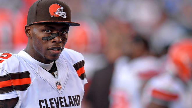 Dec 3, 2017; Carson, CA, USA; Cleveland Browns wide receiver Josh Gordon (12) looks on during the fourth quarter against the Los Angeles Chargers at StubHub Center. Mandatory Credit: Jake Roth-USA TODAY Sports