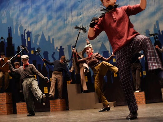 "Chimney sweeps dance during the song ""Step in Time"""