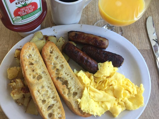 Two eggs scrambled with the finest breakfast sausage in Salinas