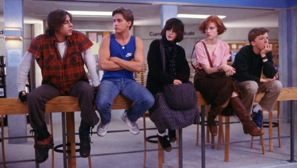 "Judd Nelson, left, Emilio Estevez, Ally Sheedy, Molly Ringwald and Anthony Michael Hall in  ""The Breakfast Club."" It's the movie's 30th anniversary."